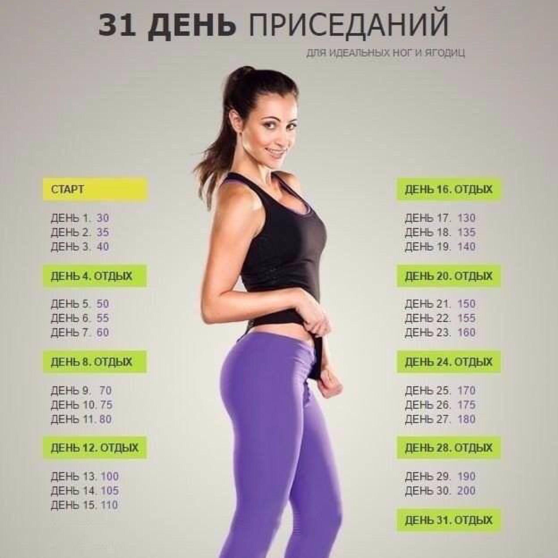 30 дней таблица для девушек фото