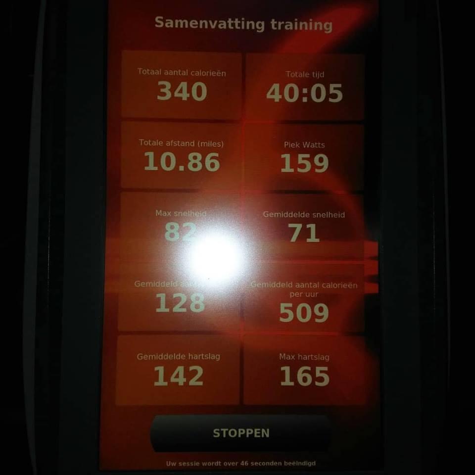 hometrainer calorieen per uur
